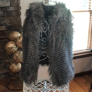 Emmelee Faux Fur Gray Vest with Collar